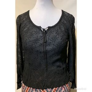 Angie's Black Large Semi-Sheer Top Wide Sleeves